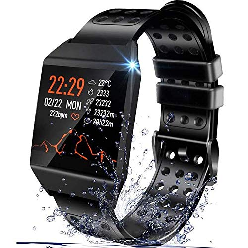 Beaulyn Smart Watches, Fitness Trackers Smartwatch Kleurrijk Scherm met Hartslag, Slaap Tracking, Trappenteller, Bel SMS SNS Herinnering Waterdichte Activiteit Tracker voor mannen vrouwen Android iOS, Zwart