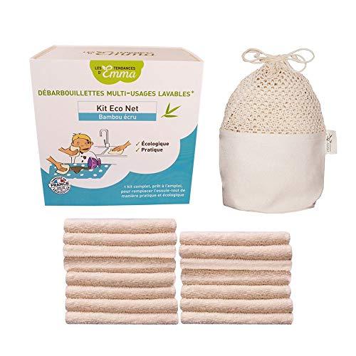 Les Tendances d'Emma - Kit Eco Net Bambou Ecru - 15 lingettes lavables multi-usages + 1 filet de lavage + 1 boite en bois de stockage - Pour remplacer l'essuie-tout