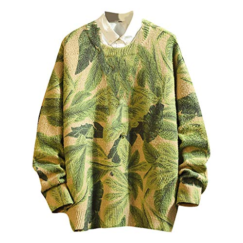 Men's New Leaf Graffiti Printed Pullover Sweaters Casual Round Neck Thicken Warm Long Sleeve Knitted Sweater M-5XL