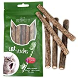 PRETTY KITTY 5X Katzenminze Sticks aus echtem Matatabi Holz als Katzenspielzeug zur Katzen Zahnpflege und gegen Mundgeruch der Katze, 5X Dental Stick Katzen Holz Kaustange