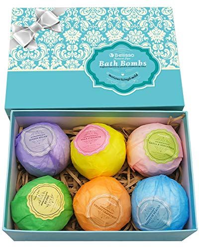 Bath Bombs Ultra Lux Gift Set - 6 XXL Fizzies with Natural Dead Sea Salt Cocoa and Shea Essential Oils - Best Gift Idea for Birthday, Mom, Girl, Him, Kids - Add to Bath Basket