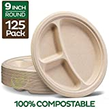 100% Compostable Paper Plates [9 inch - 125-Pack] 3 Compartment Disposable Plates Heavy-Duty...