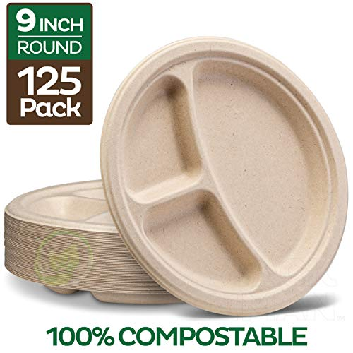 100% Compostable Paper Plates [9 inch - 125-Pack] 3 Compartment Disposable Plates Heavy-Duty Quality, Natural Bagasse Eco-Friendly Made of Sugar Cane Fibers, 9' Biodegradable Plates by Stack Man
