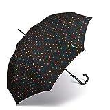 Paraguas de Mujer Largo Automático United Colors of Benetton, Ocho Varillas, 105 cm de diámetro. (Negro con Topos Multicolores)
