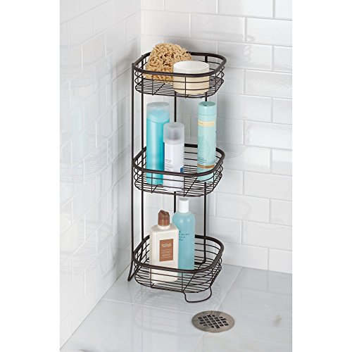 iDesign Forma Metal Wire Standing Shower Caddy, Bath Shelf Baskets for Shampoo, Conditioner, Soap, 9.5