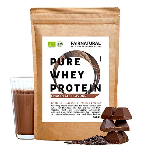 BIO Whey Protein-Pulver Schokolade [aus Deutschland] ohne Soja - Hochwertige Bio Eiweiß-Shakes » Bio-zertifiziert « 650g Bio Eiweiß-Pulver aus Premium Molkenprotein-Pulver