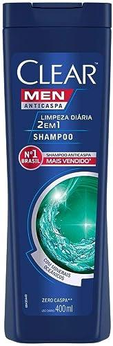 Shampoo Anticaspa Clear Men Limpeza Diária 2 em 1 400 Ml, Clear, 400 ML