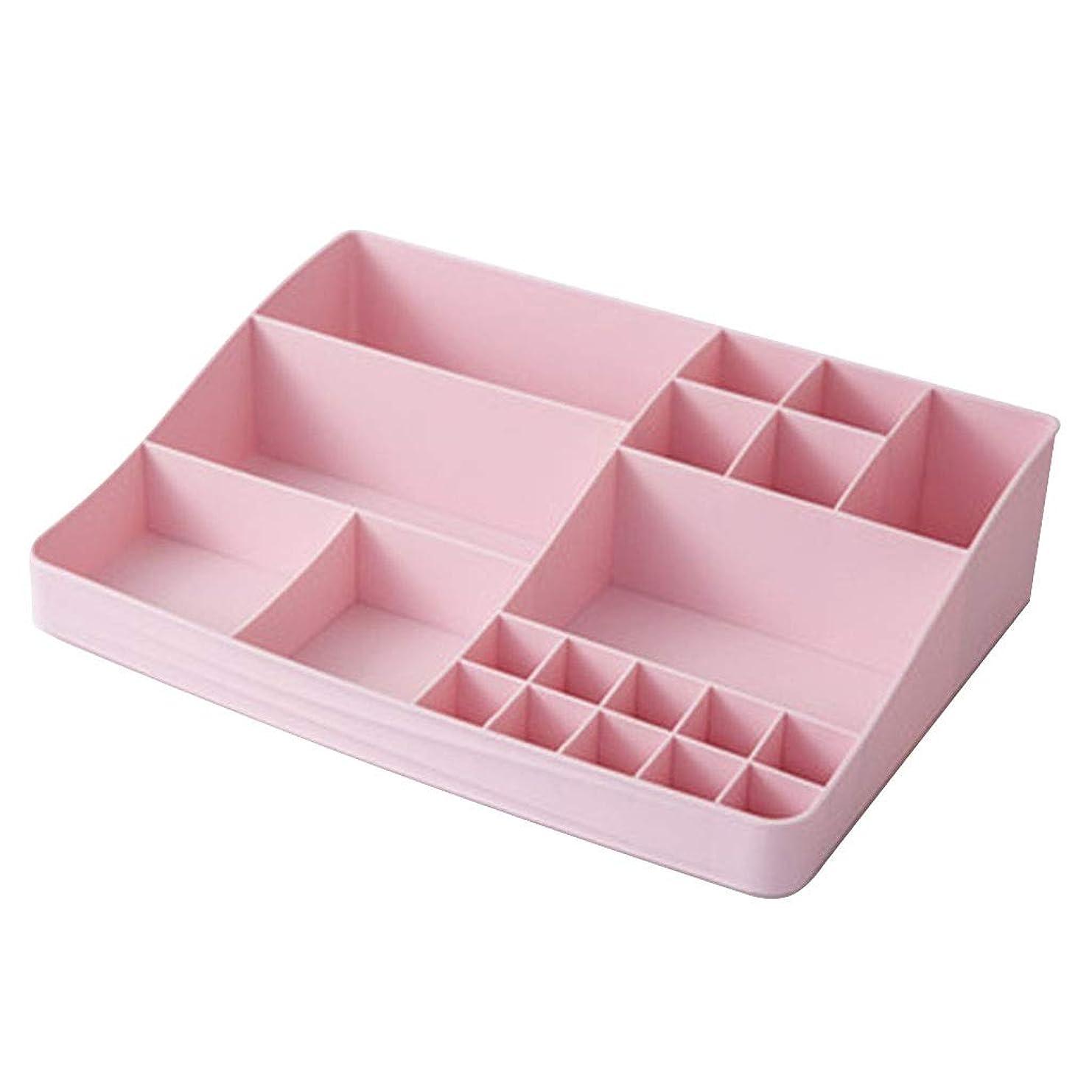インゲン商業のベルベット化粧品収納ボックスシンプルスタイルデスクトップ仕上げボックス大容量プラスチック家庭用口紅ラック最高の贈り物用ガールフレンド (Color : PINK, Size : 33*23.5*8CM)