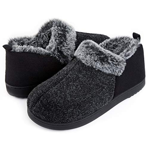 ULTRAIDEAS Women's Cozy Memory Foam Slippers with Warm Plush Faux Fur Lining, Wool-Like Blend Micro Suede House Shoes with Anti-Slip Indoor Outdoor Rubber Sole (Black, 7)