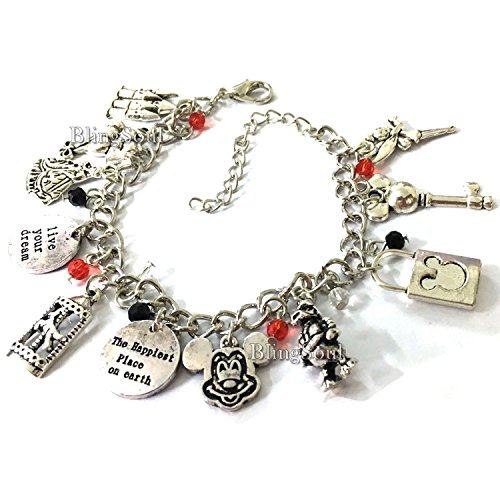Mickey Charm Bracelet - Mouse Jewelry Merchandise Valentines Day Halloween Gifts for Women