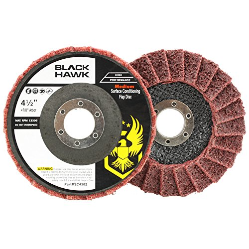 5 Pack 4-1/2 x 7/8 Black Hawk Surface Conditioning Grinding, Sanding, Polishing Flap Discs T29 (Red/Maroon - Medium)