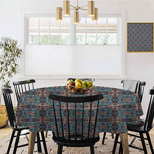 Ronde tafelkleed, Vintage Tegel Ornament Diagonaal Patroon met Arabesque Art InfluencesBlue Oranje Beige, Stofdichte tafel cover voor keuken tafel decoratie