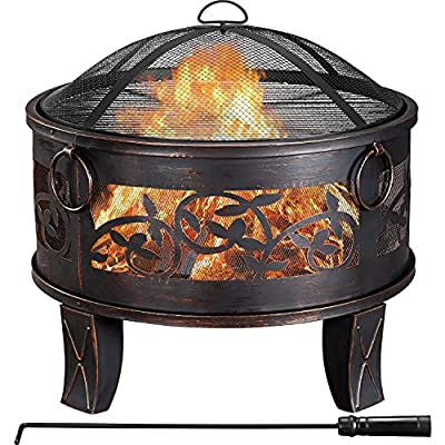 Yaheetech Outdoor Portable Iron Fire Pit Deep Fire Bowl with Cooking Grill Mesh Lid Poker for Heating BBQ in Garden Yard Patio Bronze Dia:66.5cm by Yaheetech