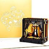 Pop-Up Karte'Theaterbühne' 3D Theater Geburtstagskarte, Einladungskarte & Theaterkarte in edlem Gold – zum Geburtstag als Geschenk, Geschenkgutschein, Einladung, Geschenkverpackung & Gutschein