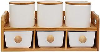 Sywlwxkq Lot de 6, boîte d'assaisonnement à Condiments en Porcelaine Blanche avec couvercles - Bouchon en Bambou, cuillère...