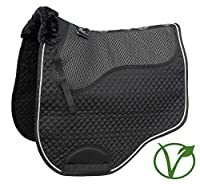 Shock absorbing non-slip saddle pad 100% Cotton outer and lining 100% Faux Fur gives support and alleviates pressure points Rolled adges and padded wither for comfort Anatomically designed for a perfect fit