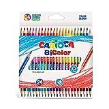 CARIOCA BI-COLOR |43031 - Matite in Legno Triangolari, Doppio Colore, 24 pezzi...