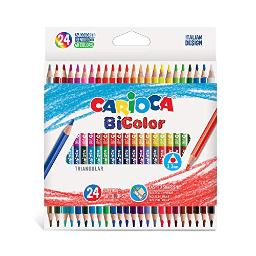 CARIOCA BI-COLOR  43031 - Matite in Legno Triangolari, Doppio Colore, 24 pezzi