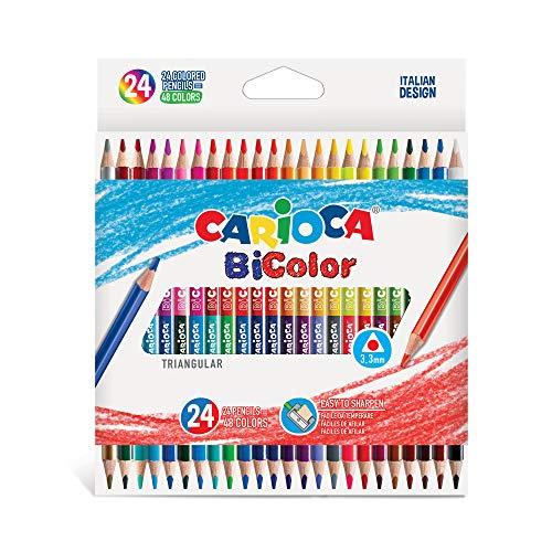 CARIOCA BI-COLOR |43031 - Matite in Legno Triangolari, Doppio Colore, 24 pezzi