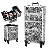 Goujxcy 3 in 1 Rolling Artist Cosmetic Train Case,Beauty Makeup Case Travel Lockable Aluminum Trolley Cart Organizer Box with Wheels and Telescopic Handle,White Zebra Print