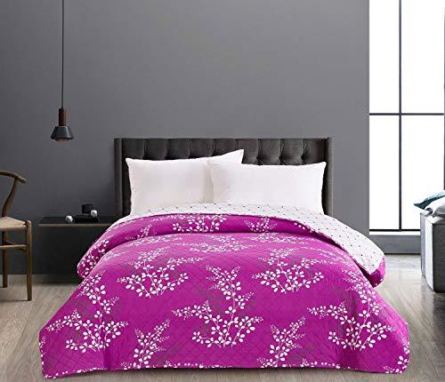 DecoKing 86872 Tagesdecke 220 x 240 cm violett lila Creme Ecru Bettüberwurf zweiseitig leicht zu pflegen Blumen Blumenmuster Blumenmotiv Violet Lilac Cream Ivory Hypnosis Collection Calluna