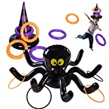 Max Fun Halloween Ring Toss Game Inflatable Spiders Witch's Hat Toss Game for Kids Halloween Party Favors Indoors Outdoors Party Game (Black-Halloween)