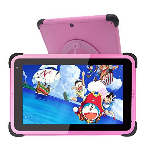 Tablet per bambini Display IPS HD da 7 pollici Tablet PC Android 10 WIFI per ragazze, tablet per apprendimento ROM da 32 GB con staffa per custodia a prova di bambino per bambini Bambini piccoli, rosa