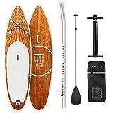 CapitalSports Downwind Cruiser M - Set de Paddle Surf Hinchable, 8,7 Kg, Conjunto: Tabla, Pala Extensible, Mochila (55 L), Leash, Kit reparación, Inflador, Antideslizante, PVC, Goma EVA, Naranja