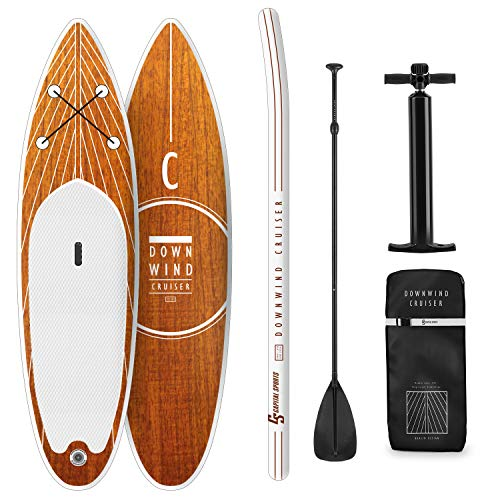 Capital Sports Downwind Cruiser M - Paddle Board, aufblasbar, SUP-Board-Set, Komplettset: Board + Paddel + Leash + Rucksack + Pumpe, Touring-Board: Cruiser Shape, ausziehbares Aluminium-Paddel, orange
