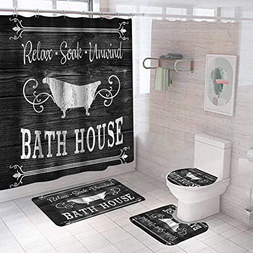 4 Piece Cute Farmhouse Shower Curtain Set with Non-Slip Rugs,Toilet Lid Cover,U Shape Mat,Waterproof Fabric Bathroom Shower Curtains with 12 Hooks-Inspirational Quote Bathroom Rug Sets,64.9x70.8In