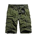JURTEE Pantalones Hombre Trabajo Cortos Ocasionales Sólido De Color Bermudas Cargo Shorts con Bolsillos