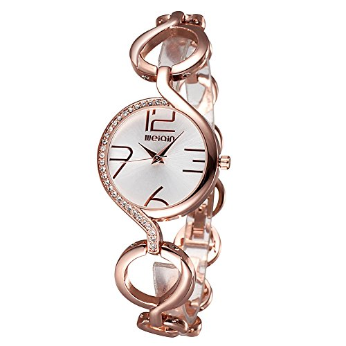 Luismia Women Bangle Bracelet Quartz Watch – Rose Gold Round Cross Circle Hollow-out Bangle Bracelet Watch with Rhinestone Embedded