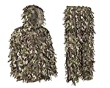 North Mountain Gear Ghillie Suit - Camo Hunting Suit - 3D Leafy Suit - Camouflage Hunting Suit Camo Jacket & Pants - Full Front Zipper, Zippered Pockets - Breathable, Quiet (Woodland GREN, XXL)
