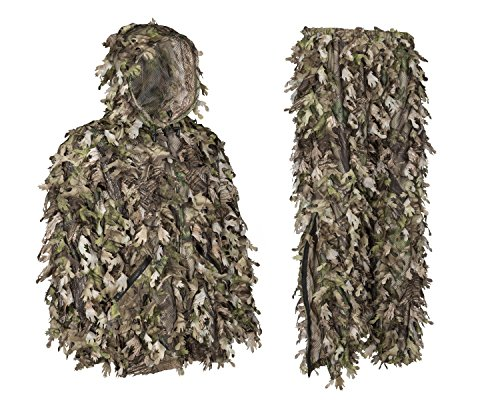 North Mountain Gear Ghillie Suit - Camo Hunting Suit - 3D Leafy Suit - Camouflage Hunting Suit Camo Jacket & Pants - Full Front Zipper, Zippered Pockets - Breathable, Quiet (Woodland GREN, XL)