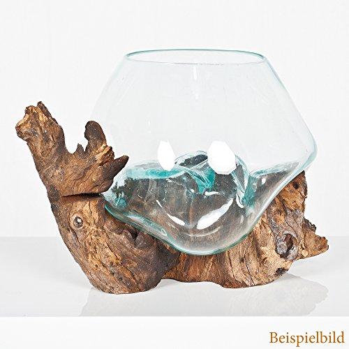 LEBENSwohnART Deko-Glas Drop-5 ca. 25x25x25cm (BxHxT) Teak Wurzelholz Handarbeit Schale Vase Unikat