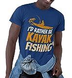 I'd Rather Be Kayak Fishing Fisher Kayaks Fisherman T-Shirt Men Women Shirt Navy