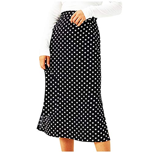 Falda corta para mujer, de verano, elástica, minifalda, de moda, básica, informal, con estampado de lunares, cintura alta, elástica, con cremallera