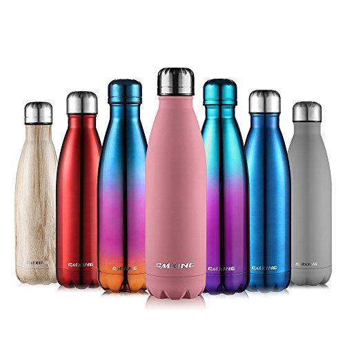 CMXING Bottiglia Acqua, 500ml/ 750ml Doppia Parete Acciaio Inox Sottovuoto Coibentato Bottiglia Termica, Sport Borracce Thermos (Rosa Leggera, 500ML)
