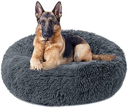 ZGQ Hundebett Hundematratze Kennel Hunde Bolster Bett Cat Kissen Bett Extra Large-Pelz-Hundebett Donut Cuddler Beruhigend für Labrador, Golden Retriever, Deutscher Jagdhund/Schäfer 120cm,Da.