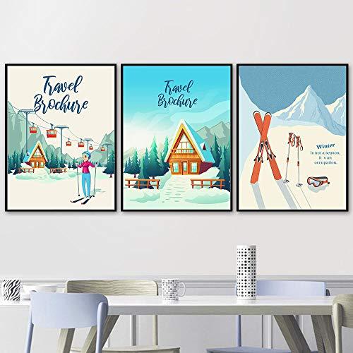 Mädchen Schlitten Skifahren Berg Winter Landschaft Wandkunst Leinwand Malerei Nordic Poster und Drucke Wandbilder Kinderzimmer Dekor-50x70cmx3pcs Kein Rahmen
