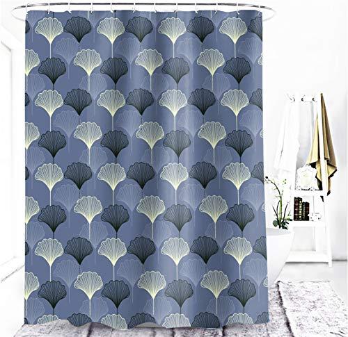 M&W DasDesign Duschvorhang grau blau Ginkgo Blatt Pflanzen Badezimmer Textil Vorhang mit Antischimmel Effekt waschbar Shower Curtain inkl. 12 C-Ringe mit Gewicht unten 180 x 200 cm