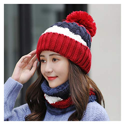 Fylsdes Winter hat New Hats Women Thick Knit Warm Beanies Hat Windproof Cycling Stitching knitting Hedging Caps Sets Hats & Headwear (Color : Red)