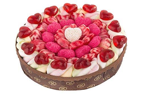 Eine handgefertigte Herztraumtorte ist ein Geschenk zum Jahrestag oder zur Hochzeit. Marshmallows, Kirsch-Joghurt-Herzen oder Frösche − die Torte besteht aus unterschiedliche Fruchtgummi-Sorten. 540g