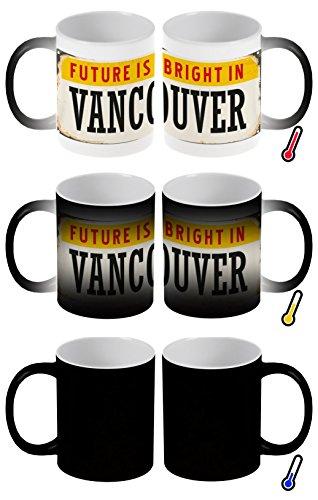 LEotiE SINCE 2004 Zaubertasse Farbwechseltasse Kaffeebecher Tasse Becher Latte Cappuccino Espresso Stadt Vancouver Kanada