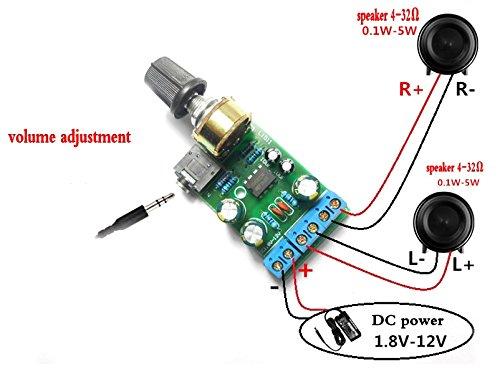 Winwill DC1,8-12 V TDA2822M Verstärker 2.0 Kanal Stereo AUX Audio Amp Board-Modul