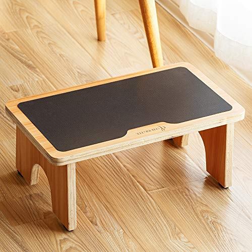 StrongTek Wooden Portable One Step Stool Kids Potty Training Stool Foot Step Stool for Kitchen Bedroom Living Room Bathroom300lbs Natural