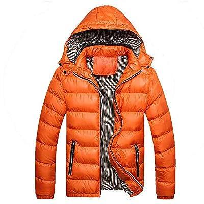 DORIC Mens 2020 Winter Coat Jacket Thickened Warm Puffer Jacket with Detachable Hood Orange