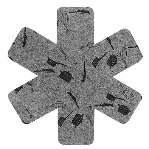 Civsde Pfannenschutz Stapelschutz für Pfannen, Pfannenschoner Topfschutz, Töpfe und Schüsseln- Blumenform hellgrau, 38cm