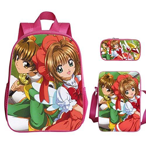LLYDIANJunior Rucksack für Kinder 3D Magic Card Mädchen Sakura-Bleistift-Kasten Ultra One-Schulter-Umhängetasche Make-up-Tasche Dekomprimierung atmungsaktiv Schulterpolster große Kapazitäts-Rucksack