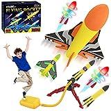 FOSUBOO Cohete Juguete Lanzador para Niños, Juegos Jardin Juguete Cohete de Aire con 6 Cohetes de Espuma, Juguetes de jardín Regalo para de 3 4 5 6 7+ años Nniño Niña